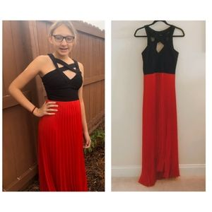 Ruby Rox Black Strappy Red Pleated Dress
